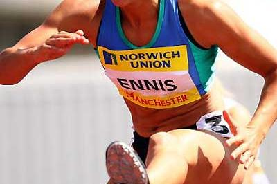 Jessica Ennis hurdles to victory at the UK Champs (Getty Images)