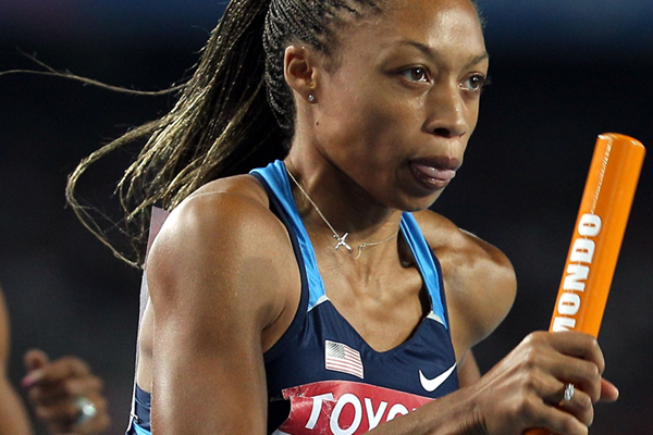 US sprinter Allyson Felix in relay action (Getty Images)