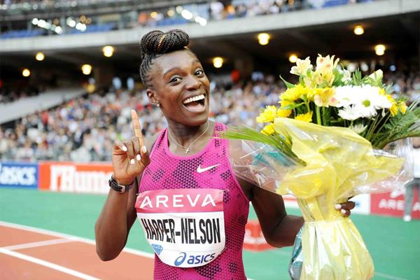 Dawn Harper-Nelson after winning the 100m hurdles at the IAAF Diamond League meeting in Paris (Jiro Mochizuki)