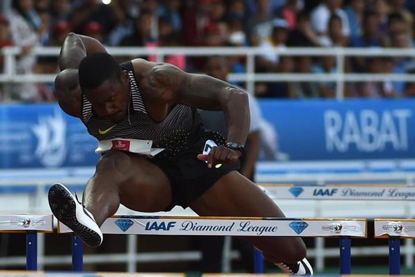David Oliver in the 110m hurdles at the IAAF Diamond League meeting in Rabat (Kirby Lee)