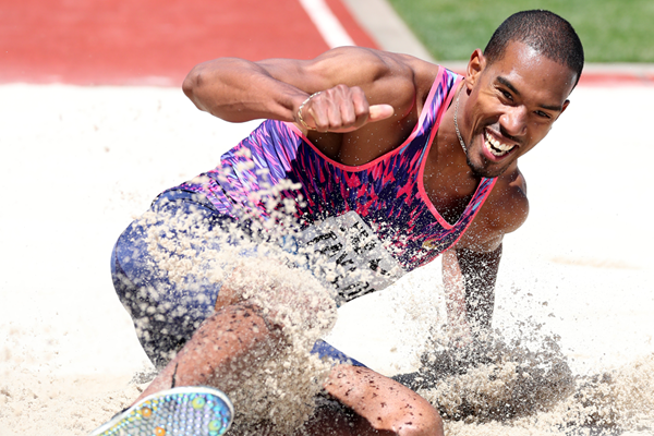 Christian Taylor wins the triple jump at the IAAF Diamond League meeting in Eugene (Victah Sailer)
