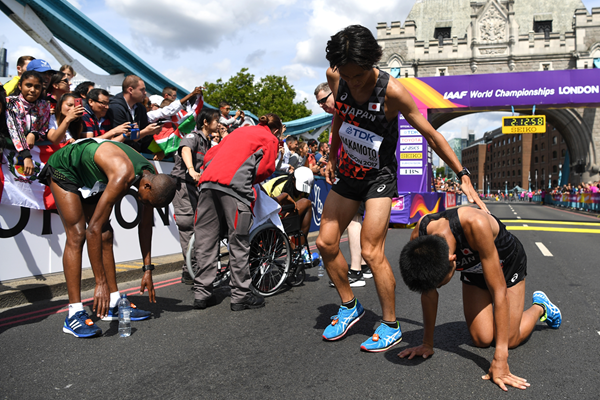 Exhausted athletes at the end of the marathon (Getty Images)