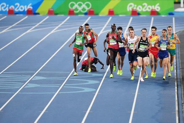 Ronald Kwemoi falls in the 1500m at the Rio 2016 Olympic Games (Getty Images)