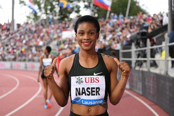 All smiles - Salwa Naser after her 400m win in Lausanne (Gladys Chai von der Laage)