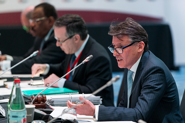 IAAF President Sebastian Coe at the 203rd IAAF Council Meeting in Monaco (Philippe Fitte / IAAF)