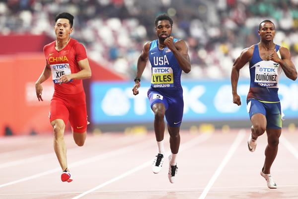 Zhenye Xie, Noah Lyles Alex Quiñónez in action in the 200m semi finals in Doha (Getty Images)