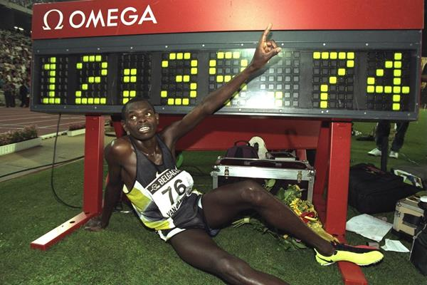 Daniel Komen after his 5000m world record at the 1997 IAAF Van Damme Memorial Grand Prix meeting in Brussels (Getty Images)