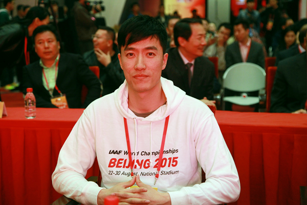 2004 Olympic 110m hurdles champion Liu Xiang at the launch of ticket sales for the IAAF World Championships, Beijing 2015 (Beijing 2015 LOC)