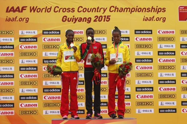 Senior women's medallists Agnes Tirop, Senbere Teferi and Netsanet Gudeta at the IAAF World Cross Country Championships, Guiyang 2015 (Getty Images)