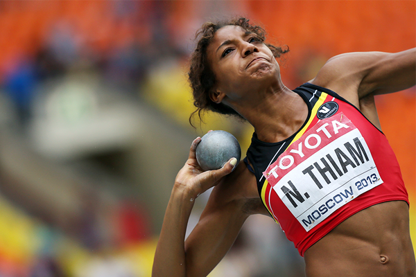 Nafissatou Thiam in the heptathlon shot put at the IAAF World Championships Moscow 2013 (AFP / Getty Images)