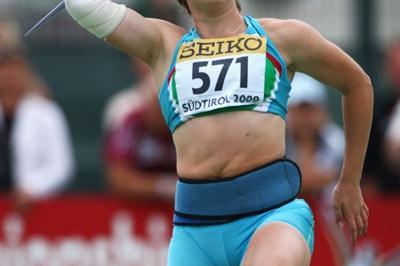 Anastasiya Svechnikova of Uzbekistan on her way to winning the Javelin Throw final (Getty Images)