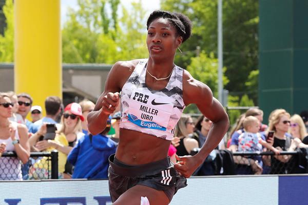 Shaunae Miller-Uibo en route to a big 400m win at the IAAF Diamond League meeting in Eugene (Victah Sailer)
