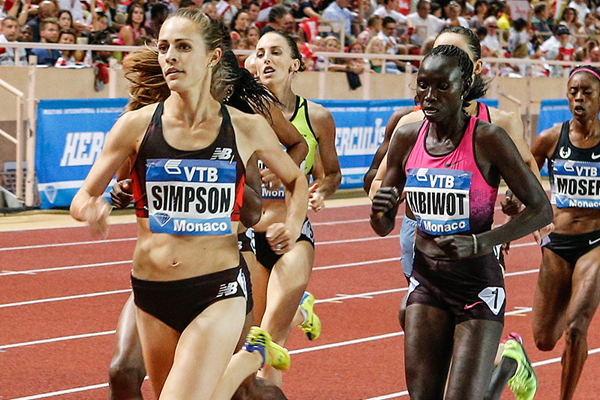 Jenny Simpson in action at the IAAF Diamond League meeting in Monaco (Philippe Fitte)