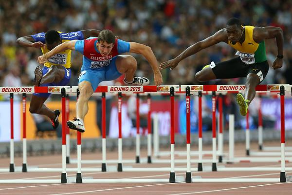 Sergey Shubenkov and Hansle Parchment in the 110m hurdles semi-finals at the IAAF World Championships, Beijing 2015 (Getty Images)