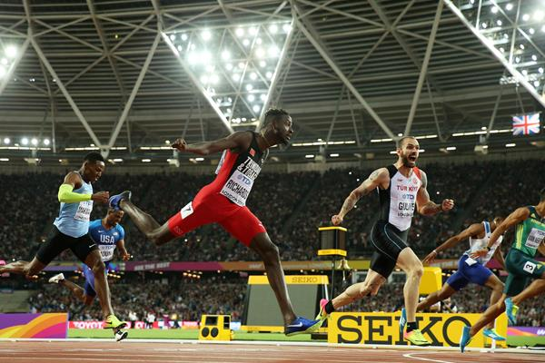 Jereem Richards of Trinidad and Tobago crosses the line to finish third in the 200m at the IAAF World Championships London 2017 (Getty)