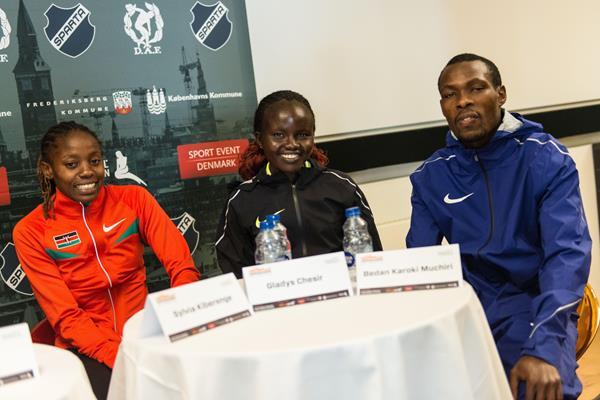 From right: Bedan Karoki, Gladys Chesir and Sylvia Kiberenge in Copenhagen (Matthew James/organisers)