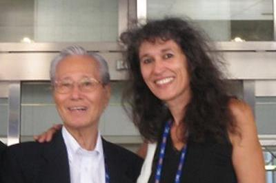 Atsushi Hoshino (JPN) 2010 IAAF World Journalist Award winner, pictured at the Osaka 2007 World Champs, with IAAF Communications Deputy Director Anna Legnani (IAAF.org)