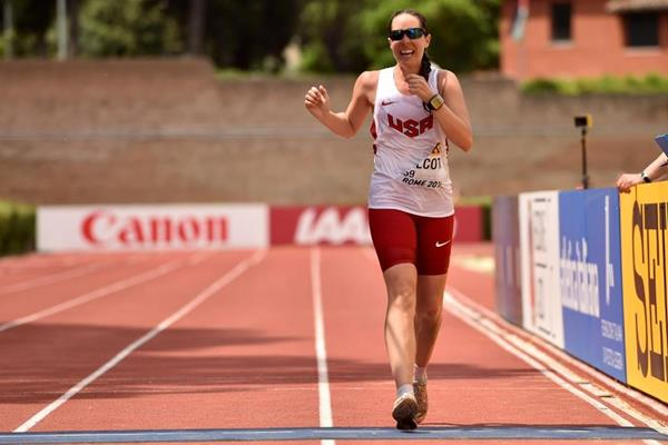 Erin Talcott finishes the 50km at the IAAF World Race Walking Team Championships Rome 2016 (Getty Images)