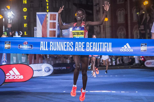 Caroline Kipkirui wins the Birell Prague Grand Prix (Organisers)