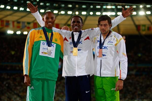 The medallists from the men's Long Jump (L-R) South Africa's Godfrey Mokoena (silver), the USA's Dwight Phillips (gold) and Australia's Mitchell Watt (bronze) (Getty Images)