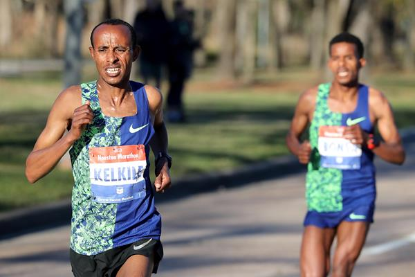 Kelkile Gezahegn on his way to winning the Houston Marathon (Victah Sailer / organisers)