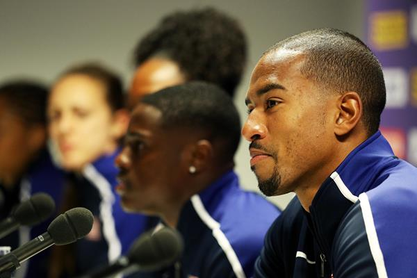 Christian Taylor at the US pre-champs press conference in London (Getty Images)