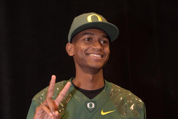Mutaz Essa Barshim at the press conference ahead of the 2015 IAAF Diamond League meeting in Eugene (Kirby Lee)