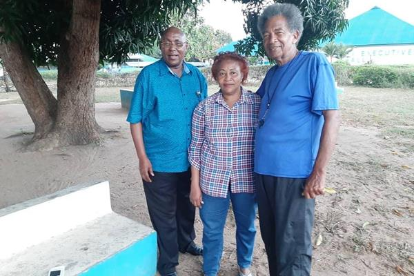 Filbert and Anna Bayi with Ron Davis at the Bayi Multi Sports Complex in Tanzania (Ron Davis)