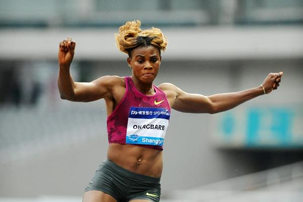 Blessing Okagbare in the long jump at the 2014 IAAF Diamond League meeting in Shanghai (Errol Anderson)