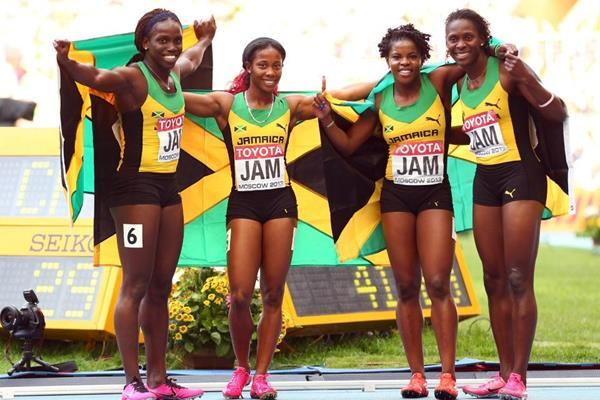 Russell, Stewart, Calvert and Fraser-Pryce in the womens 4x100m Relay at the IAAF World Athletics Championships Moscow 2013 (Getty Images)