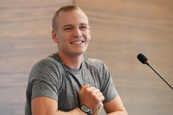 Sam Kendricks at the press conference ahead of the Wanda Diamond League meeting in Doha (Matt Quine)