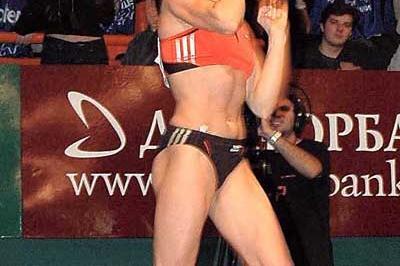 Yelena Isinbayeva celebrates her 4.93 World record in Donetsk (Organisers)