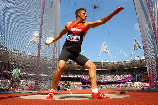 Rico Freimuth of Germany competes during the Men's Decathlon Discus Throw on Day 13 of the London 2012 Olympic Games at Olympic Stadium on August 9, 2012 (Getty Images)