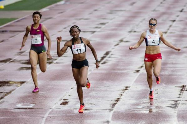 Uhunoma Osazuwa in the heptathlon 200m at the Multistars meeting in Florence (Organisers)