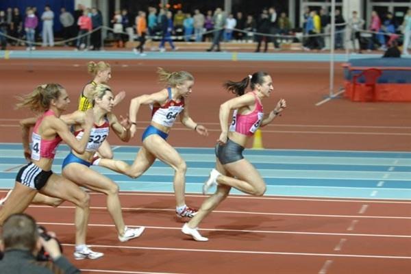 Aleksandra Fedoriva wins the 60m at the 2010 Russian Indoor Champs (Nikolay Matveev)