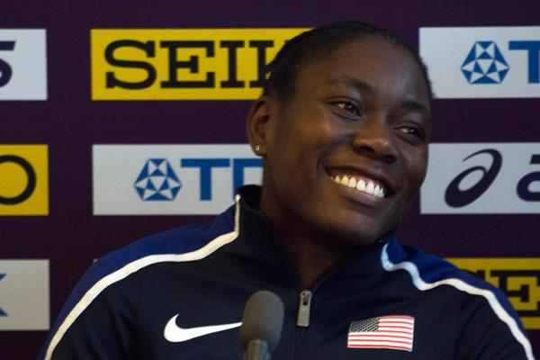 Brittney Reese at a pre-championships press conference in Birmingham (Bob Ramsak)