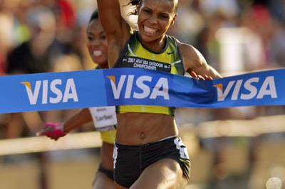 Torri Edwards takes the US 100m title in Indianapolis (Getty Images)