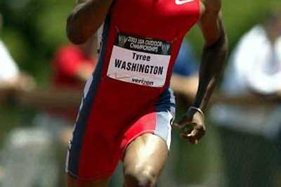 Tyree Washington on the way to 400m victory at the 2003 US nationals (Getty Images)