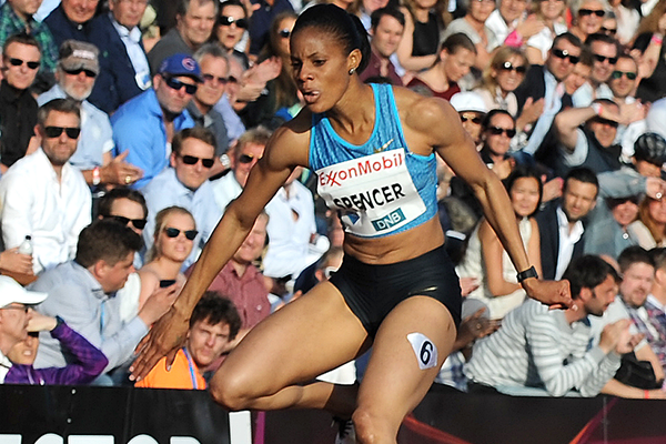 Kaliese Spencer on her way to winning the 400m hurdles at the IAAF Diamond League meeting in Oslo (Mark Shearman)