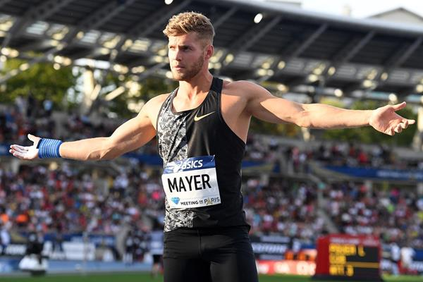 Kevin Mayer, winner of the triathlon at the IAAF Diamond League meeting in Paris (Gladys Chai von der Laage)
