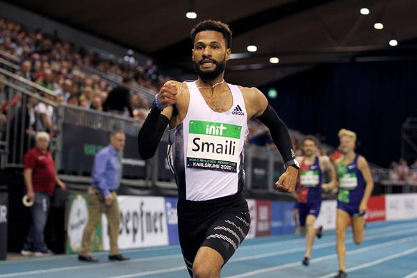 Mostafa Smaili, winner of the 800m at the World Athletics Indoor Tour meeting in Karlsruhe (Jean-Pierre Durand)