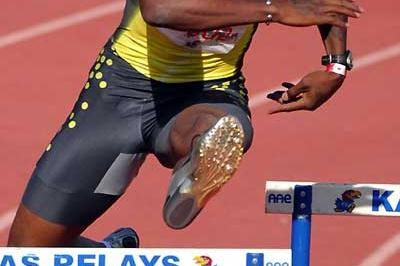 Bershawn Jackson competing at the 80th Kansas Relays (Kirby Lee)