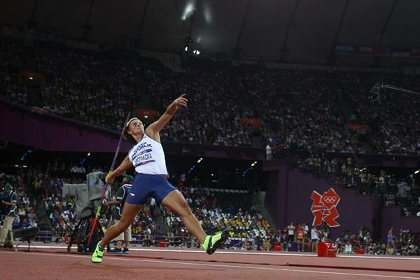 The victory throw for Barbora Spotakova of Czech Republic in the Women's Javelin Throw Final of the London 2012 Olympic Games  on August 9, 2012 2 (Getty Images)