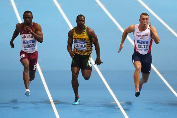 Femi Ogunode, Nesta Carter and Richard Kilty in the 60m final at the 2014 IAAF World Indoor Championships in Sopot (Getty Images)