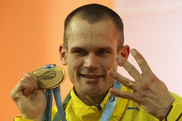 Stefan Holm celebrates his fourth world indoor high jump title (Getty Images)