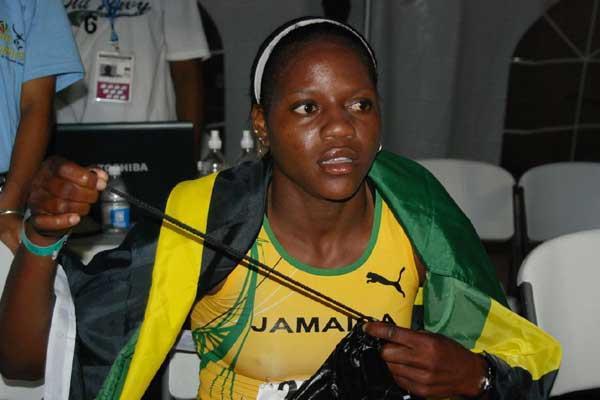 Salcia Slack after running 2:14.53 in the 800m for the girls' Pentathlon open - 2008 CARIFTA Games (Anthony Foster)