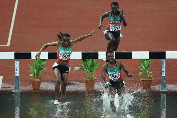 Milcah Chemos leads a Kenyan sweep in the Steeplechase in Delhi (Getty Images)