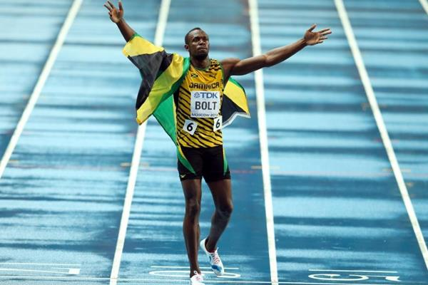 Usain Bolt after winning the 100m at the IAAF World Championships Moscow 2013 (Getty Images)