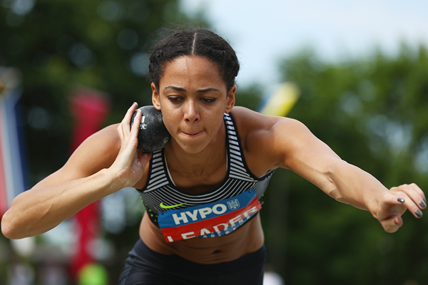 Katarina Johnson-Thompson in the heptathlon shot at the Hypo-Meeting in Gotzis (Getty Images)