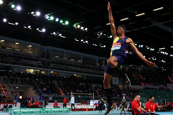 Juan Miguel Echevarria in the long jump at the IAAF World Indoor Tour meeting in Torun (Jean-Pierre Durand)